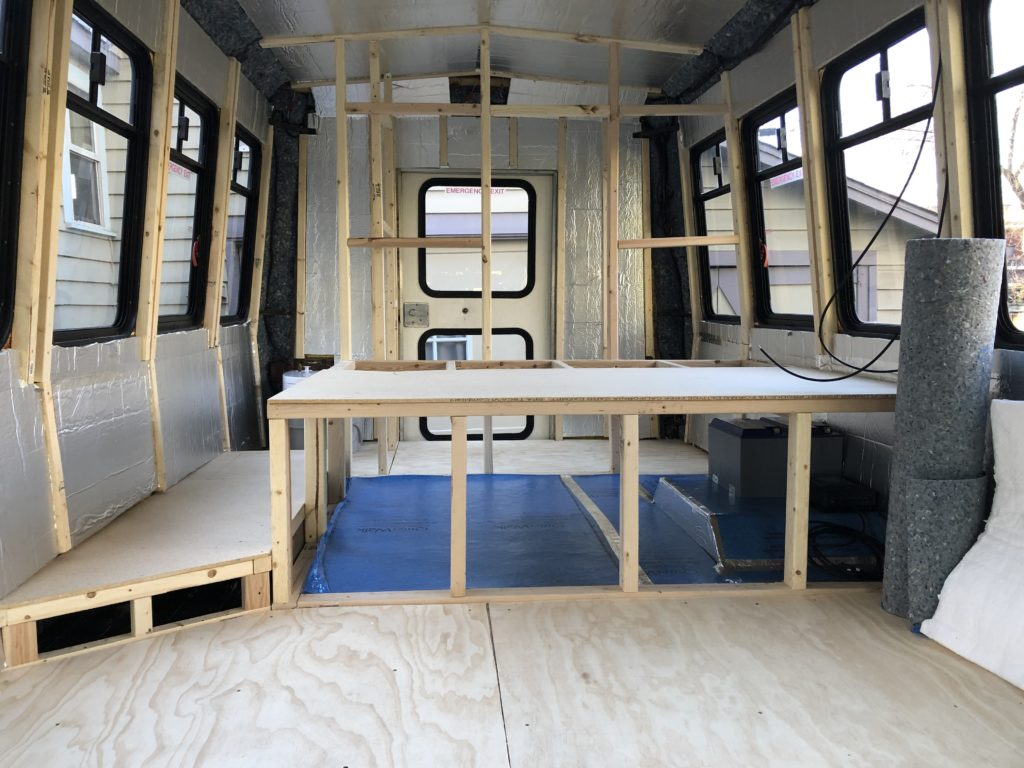 Insulating is done for the shuttle bus!