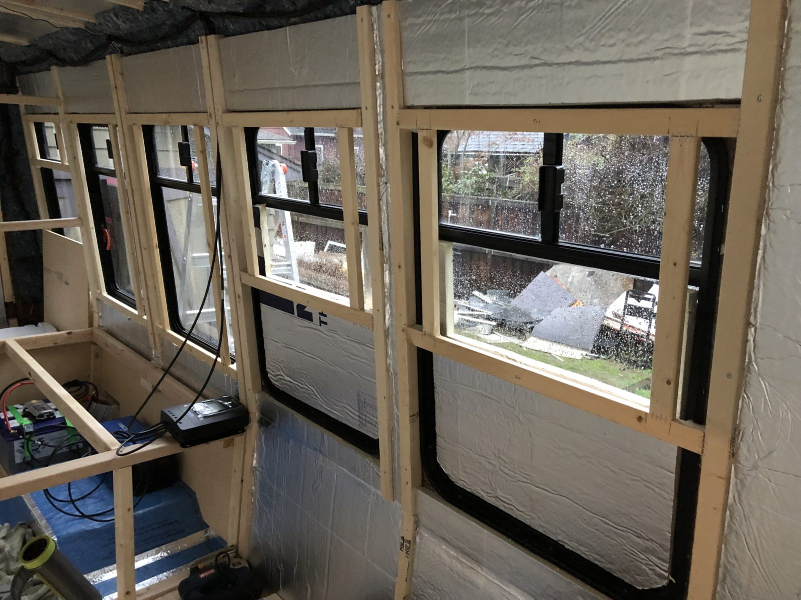 Framing windows on a shuttle bus conversion